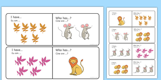 The Lion And The Mouse I Have Who Has Counting Activity Romanian Translation - maths, countng, couting, coutning, matsh, ks1, eyfs, literacy, numeracy, mfl, eal, book