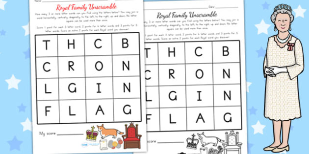 Royal Family Unscramble - royality, queen elizabeth, literacy