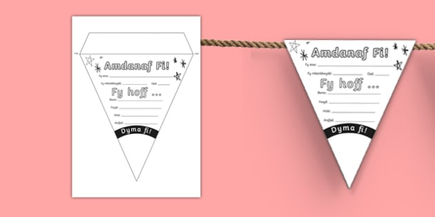 Baneri bach 'Amdanaf fi' Display Bunting-Welsh
