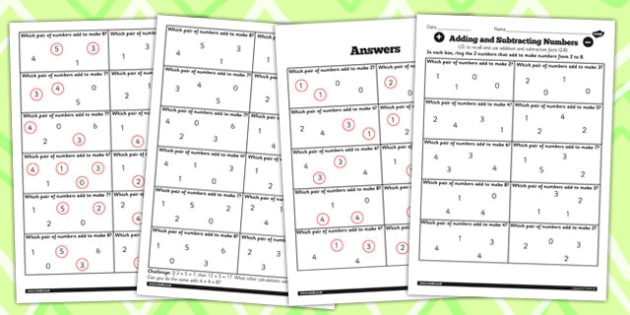 Number Facts Finding Pairs Worksheet 2-8 - number, facts, pairs