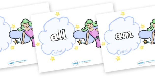 Foundation Stage 2 Keywords on Fairies - FS2, CLL, keywords, Communication language and literacy,  Display, Key words, high frequency words, foundation stage literacy, DfES Letters and Sounds, Letters and Sounds, spelling