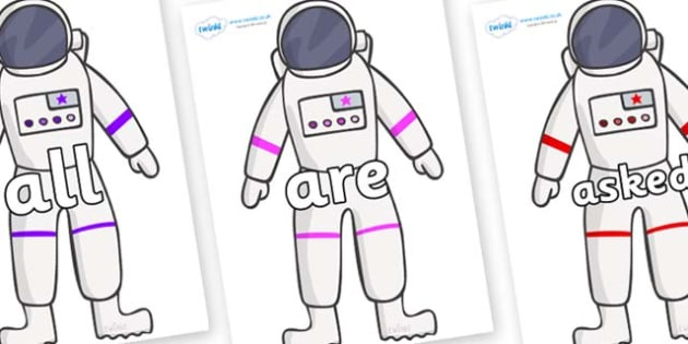Tricky Words on Astronaut - Tricky words, DfES Letters and Sounds, Letters and sounds, display, words