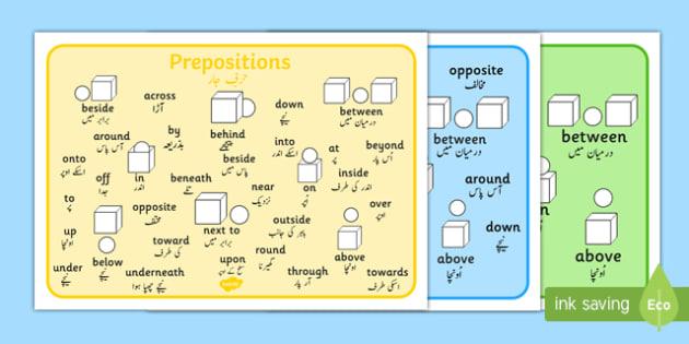 Prepositions Word Mat Urdu Translation - urdu, prepositions, word, mat, word mat, words