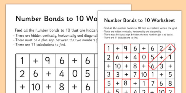 Number Bonds to 10 Wordsearch - number bonds, numeracy, maths