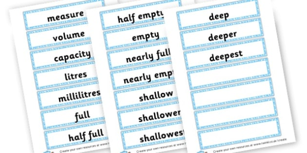 Capacity Word Cards - KS2 Length Mass and Capacity Primary Resources, Shapes, Length