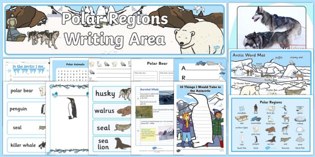 Polar Regions Writing Area Resource Pack - The Arctic, Polar Regions, north pole, south pole, explorers,