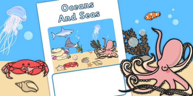 Editable Seas And Oceans Book Cover (Under the Sea) - sea, ocean, books, reading