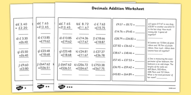 Addition addition worksheets with decimals : Number Names Worksheets : addition decimal worksheets ~ Free ...