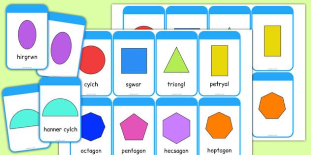 2D Shape Cards Cymraeg - cymreag, welsh, 2d shape, cards, 2d, shape, maths, numeracy