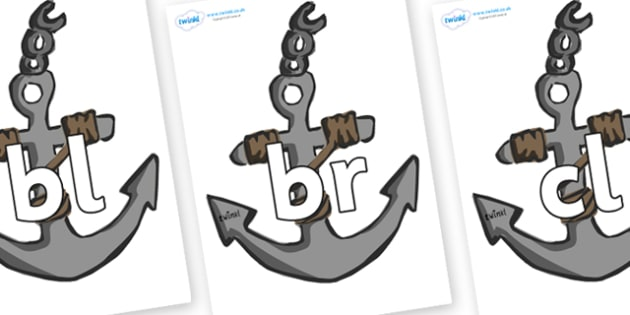 Initial Letter Blends on Anchors - Initial Letters, initial letter, letter blend, letter blends, consonant, consonants, digraph, trigraph, literacy, alphabet, letters, foundation stage literacy
