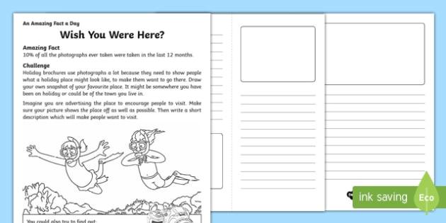 Wish You Were Here? Activity Sheet, worksheet