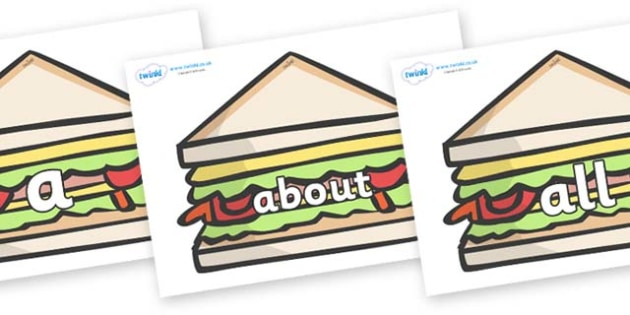 100 High Frequency Words on Sandwiches to Support Teaching on The Lighthouse Keeper's Lunch - High frequency words, hfw, DfES Letters and Sounds, Letters and Sounds, display words
