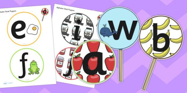 A Z Alphabet Stick Puppets - a-z, alphabet, stick puppets, puppet