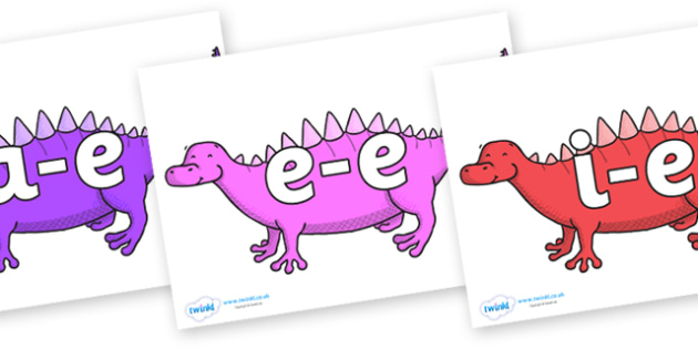 Modifying E Letters on Scelidosaurus - Modifying E, letters, modify, Phase 5, Phase five, alternative spellings for phonemes, DfES letters and Sounds