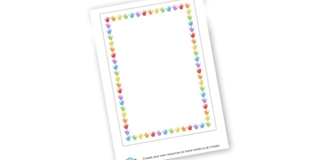Hand Prints Page Border - Writing Frame Primary Resources, frame, borders, writing, template