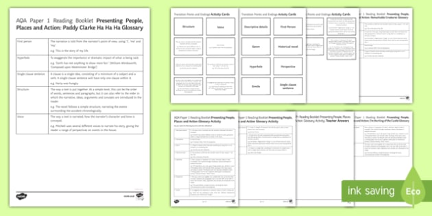 Presenting People, Places and Action Glossary Resource Pack