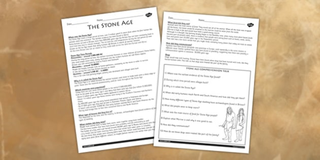 Stone Age Reading Comprehension Activity - worksheet, stone age, history