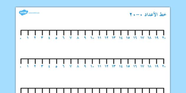 خط الأعداد من 0 إلى 20 - خط الأعداد، رياضيات، حساب، جمع، طرح