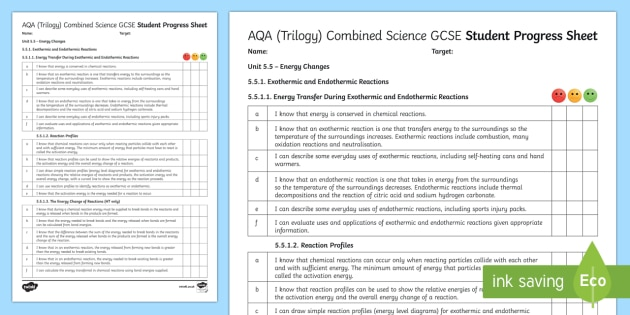 AQA (Trilogy) Unit 5.5 Energy Changes Student Progress Sheet