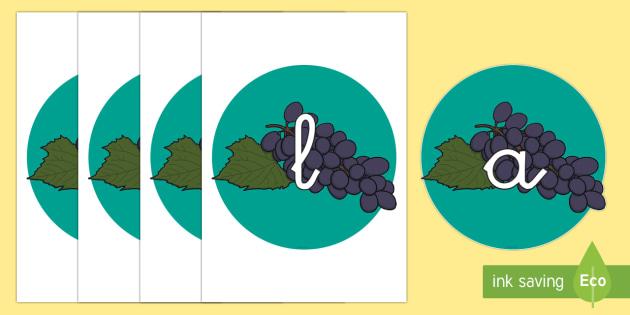 Tarjetas de fonemas: Uvas - lecto, leer, primeros sonidos
