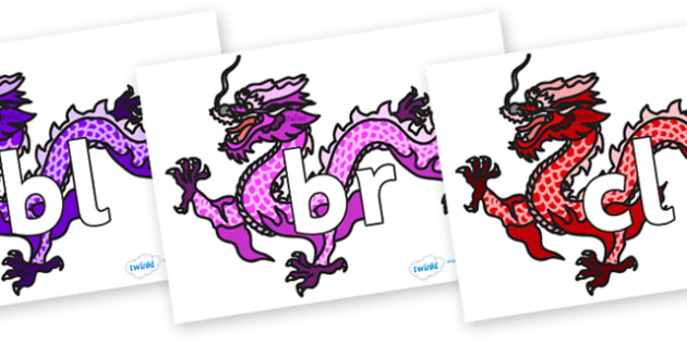 Initial Letter Blends on Chinese Dragons (Multicolour) - Initial Letters, initial letter, letter blend, letter blends, consonant, consonants, digraph, trigraph, literacy, alphabet, letters, foundation stage literacy