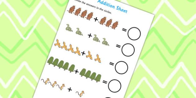 The Gruffalo Addition Sheet - the gruffalo, addition sheet, addition, addition worksheet, the gruffalo worksheet, adding, counting, numeracy, numbers, maths