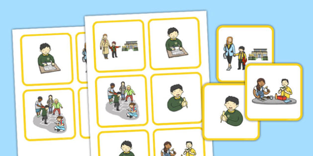 School Sequencing Cards - school, sequencing, cards, sequence