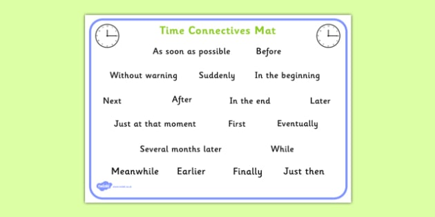 Time Connectives Mat - time connectives, mat, time, connectives