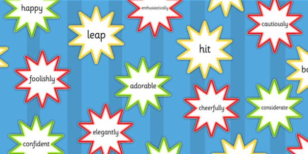 Verb Adverb and Adjective Cut Outs - literacy, verbs, cutouts