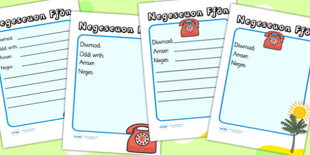 Travel Agents Telephone Message Sheets Welsh Translation - props