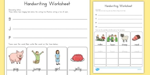 Handwriting Worksheets Letter Formation - australia, handwriting, worksheets, letter, formation