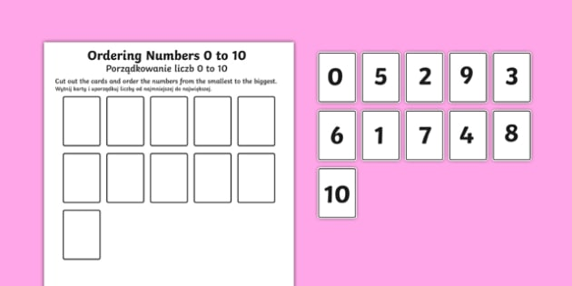 Ordering Numbers 0 to 10 Activity Polish Translation-Polish-translation