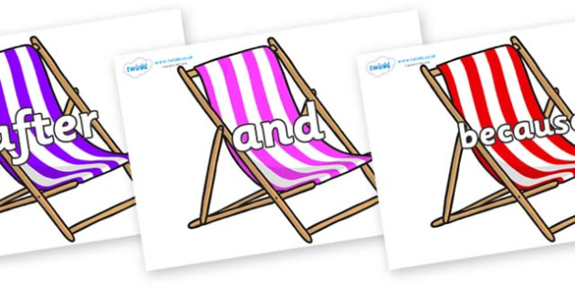 Connectives on Deck Chairs - Connectives, VCOP, connective resources, connectives display words, connective displays