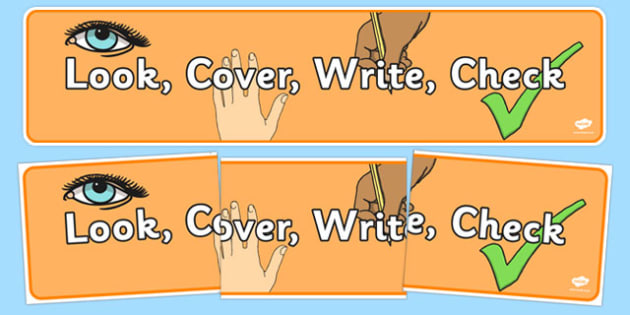 Look, Cover, Write, Check Display Banner - look, cover, write, check, display banner, display, banner