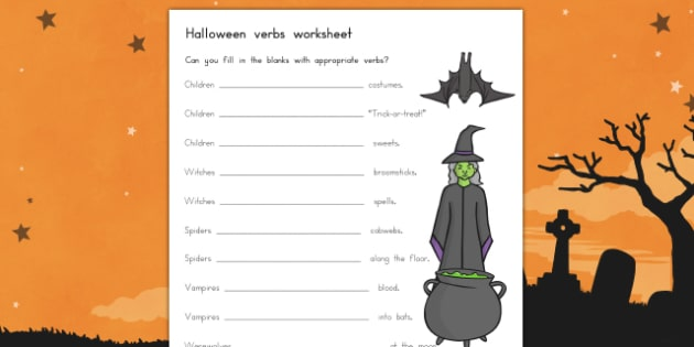 Halloween Verbs Worksheet - halloween, halloween verbs, halloween verb worksheet, halloween english, english worksheet, verbs worksheet, writing, english
