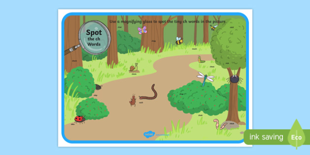 Phase 3 ch Words Minibeasts Scene Magnifying Glass Activity Sheet, worksheet