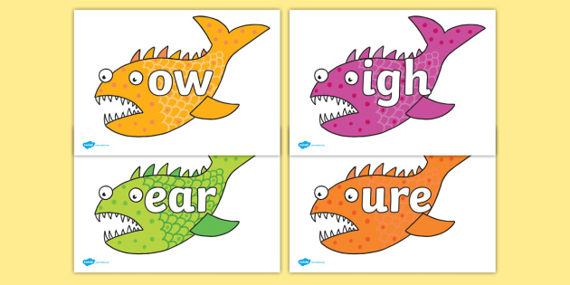 Phase 3 Phonemes on Fish to Support Teaching on Sharing a Shell - Phonemes, phoneme, Phase 3, Phase three, Foundation, Literacy, Letters and Sounds, DfES, display