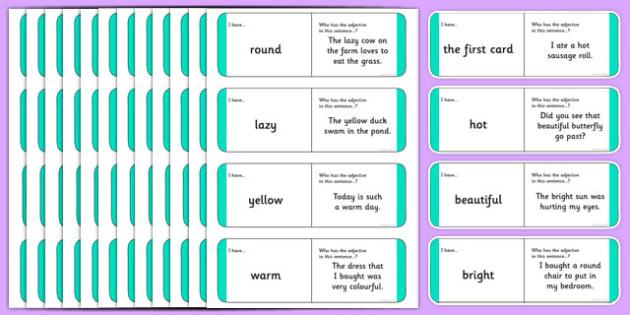 Australian Year 2 Adjectives Loop Cards - australia, Phonics, grammar, language, literacy, adjectives, loop cards, talking, listening, ACELA1452