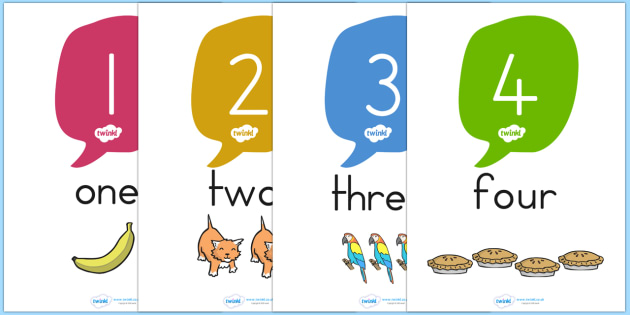 Number and Word Posters 0 20 with Images - number, word, posters