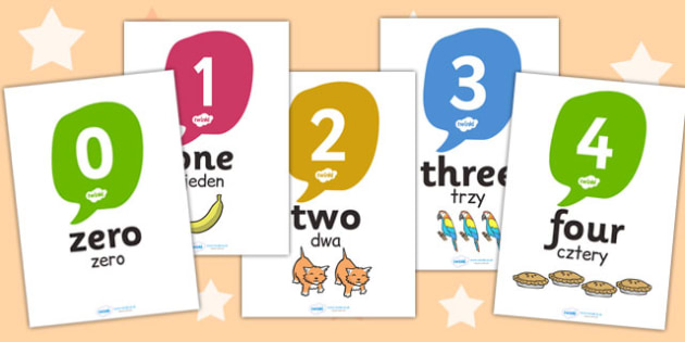 0-20 Number and Word Posters with Objects Polish Translation