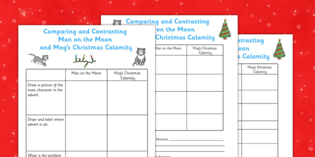Comparing and Contrasting Man on the Moon and Mog's Christmas Calamity Adverts - adverts