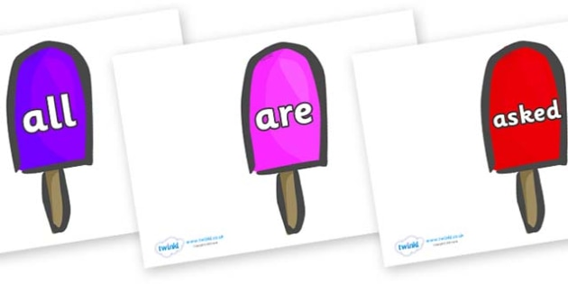 Tricky Words on Ice Lollies - Tricky words, DfES Letters and Sounds, Letters and sounds, display, words