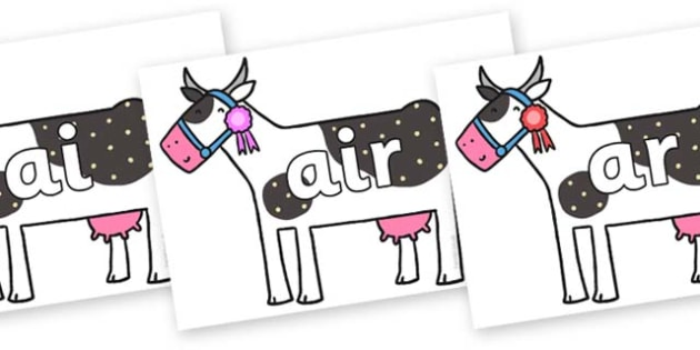 Phase 3 Phonemes on Cow to Support Teaching on What the Ladybird Heard - Phonemes, phoneme, Phase 3, Phase three, Foundation, Literacy, Letters and Sounds, DfES, display