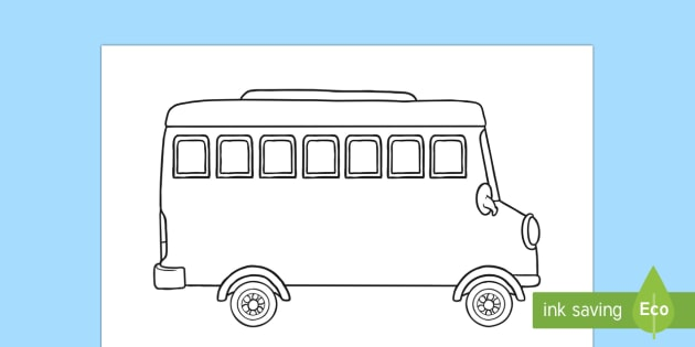 Bus Outline Colouring Page