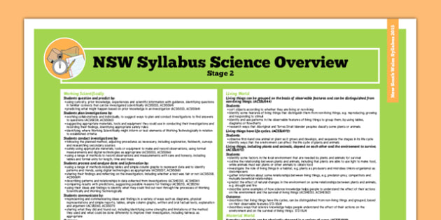 NSW Stage 2 Science Syllabus Overview - australia, syllabus, nsw