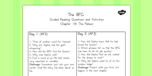 Guided Reading Questions Chapter 18 to Support Teaching on The BFG - australia, bfg, guided reading