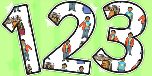Cloakroom Area Themed Display Numbers - cloakroom, numbers