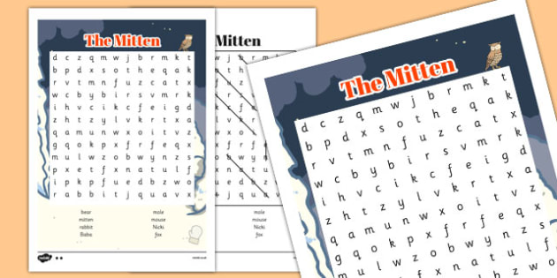 The Mitten Wordsearch - the mitten, wordsearch, story, mitten