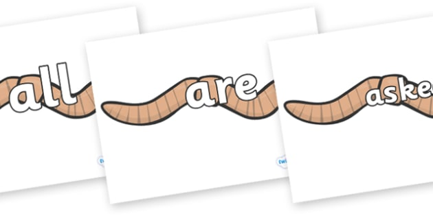Tricky Words on Worms - Tricky words, DfES Letters and Sounds, Letters and sounds, display, words