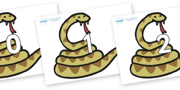 Numbers 0-100 on Snakes - 0-100, foundation stage numeracy, Number recognition, Number flashcards, counting, number frieze, Display numbers, number posters